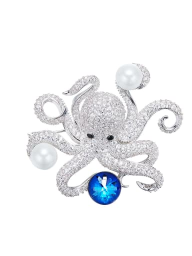 Octopus-shaped Pearl Brooch