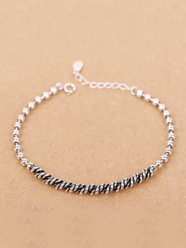 Simple Seed Beads Silver Bracelet