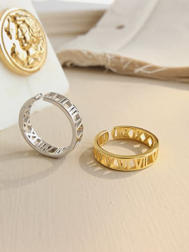 925 Sterling Silver With 18k Gold Plated Trendy Rome digital Rings