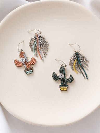 Alloy With Platinum Plated Fashion Asymmetry  Leaves Flowers  Hook Earrings