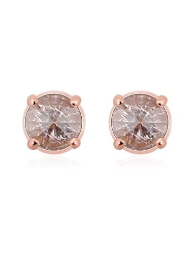 Fashion 925 Sterling Silver Zircon Rose Gold Anti-allergic stud Earring