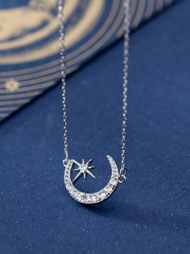 925 Sterling Silver With Platinum Plated Simplistic Moon Necklaces