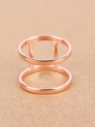 Simple Two-band Rose Gold Plated Ring