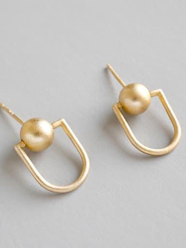 Sterling Silver personality matte hollow beads U Pierced Earrings