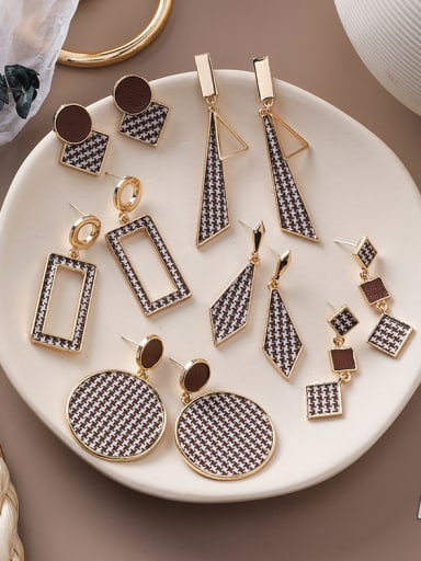 Alloy With Rose Gold Plated Personality Geometric Drop Earrings