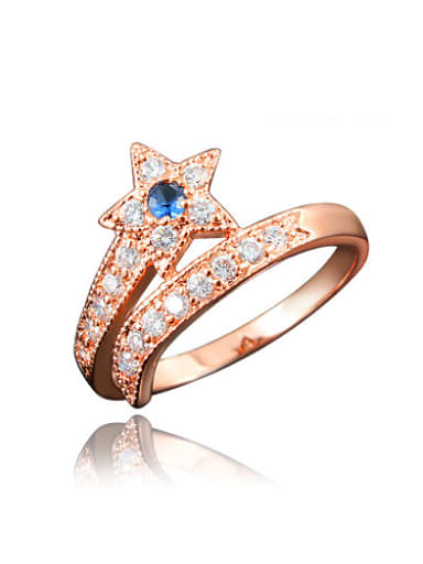 Blue Rose Gold Plated Star Shaped Zircon Ring