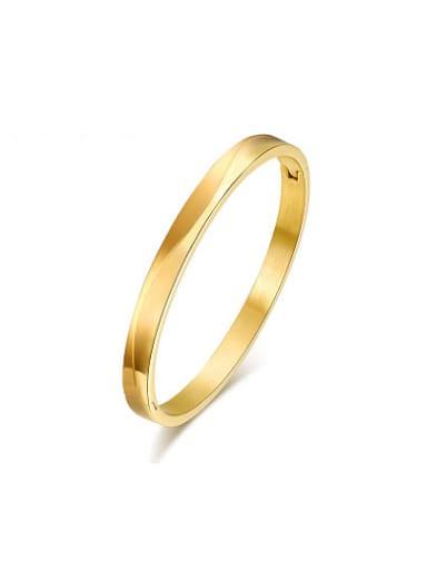 Personality Gold Plated Wave Pattern Titanium Bangle