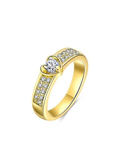 Luxury Gold Plated Heart Shaped Alloy Ring