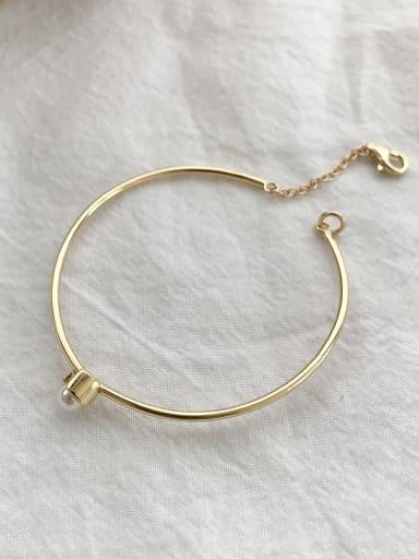 Pure silver synthetic pearl simple geometric open Bracelet