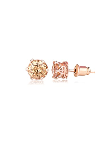 Copper inlay six-claw classic AAA zircon exquisite simple earrings