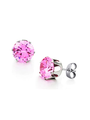 Simple Tiny Pink Zircon Titanium Stud Earrings