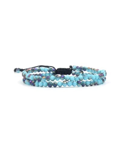 Blue Glass Beads Fashion Double Layer Bracelet