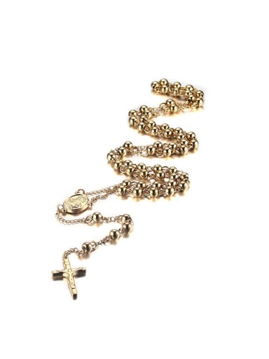 Exquisite Gold Plated Cross Shaped Titanium Sweater Chain