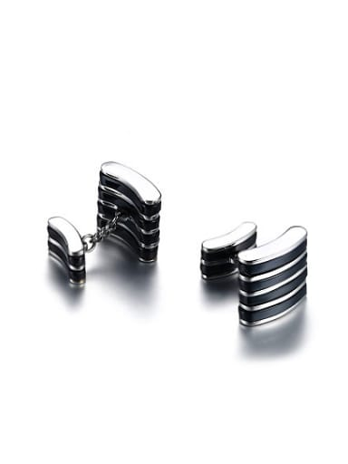 Exquisite Black Gun Plated Titanium Cufflinks