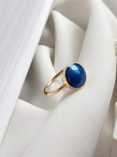 Sterling silver sea blue open adjustable ring