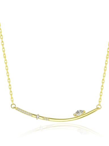 925 Sterling Silver With Gold Plated Simplistic Fringe Necklaces