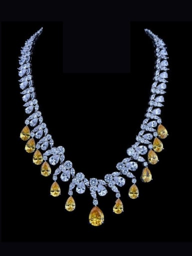 Copper inlaid 3A zircon luxurious bridal  Necklace