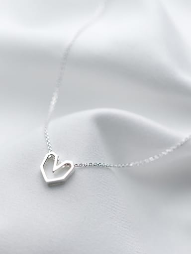 All-match Hollow Heart Shaped S925 Silver Necklace
