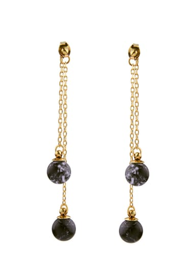 Double Lines Artificial Pearls drop earring