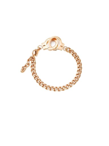 Titanium With Rose Gold Plated Simplistic Handcuffs  Chain Bracelets