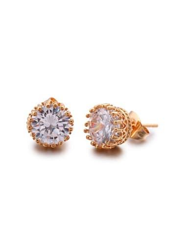 Elegant Round Shaped Zircon Stud Earrings
