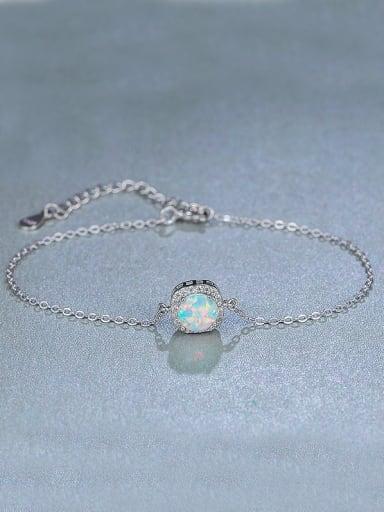 Silver Opal Stone Bracelet