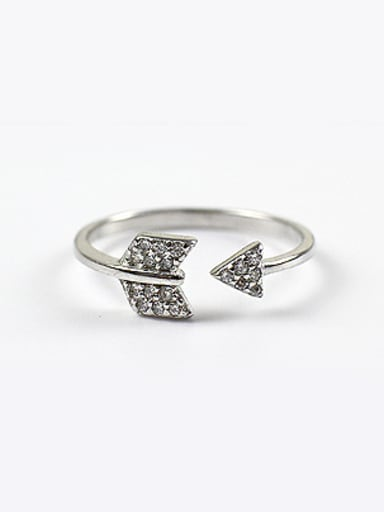 Personalized Arrow Cubic Zirconias Silver Opening Ring