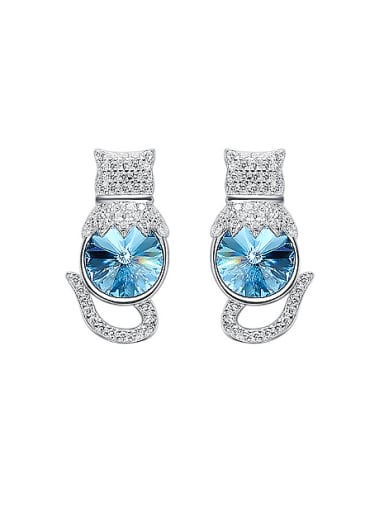 Fashion Round Swarovski Crystal Kitten Stud Earrings