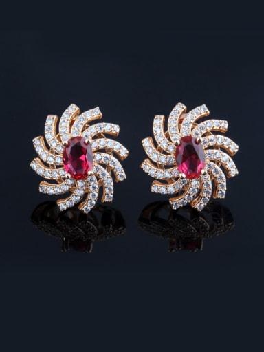 European luxury  AAA Zircon Full Diamond Stud  Sweet Ladies Cluster earring