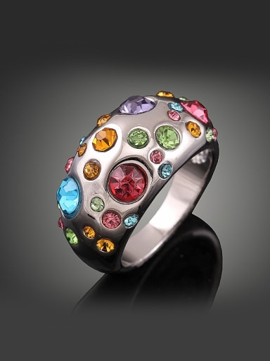 Exaggerated Cubic Rhinestones Platinum Plated Alloy Ring