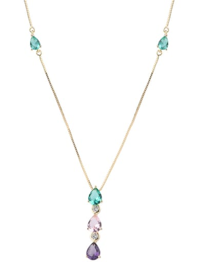 Copper With Glass stone Fashion Water Drop Necklaces