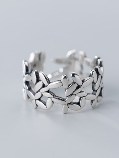 925 Sterling Silver With Geometric Vintage  Hollow Stitching  Free Size Rings