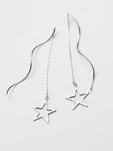 Women Elegant Star Shaped S925 Silver Line Earrings
