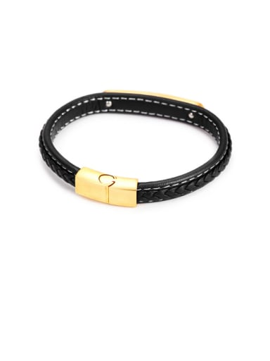 2017 new Male Leather Titanium Bracelet