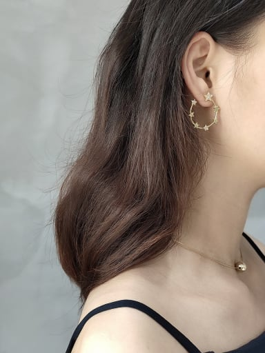 925 Sterling Silver With Gold Plated Fashion Star Stud Earrings