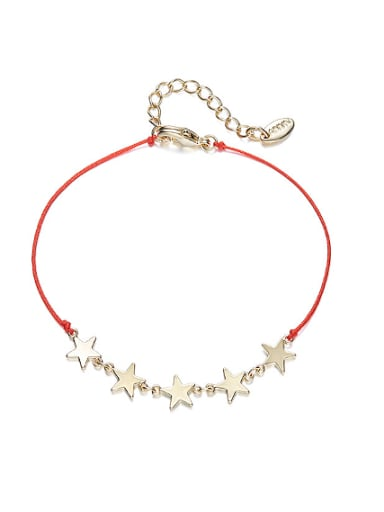 Simple Gold Plated Stars Red Rope Copper Bracelet