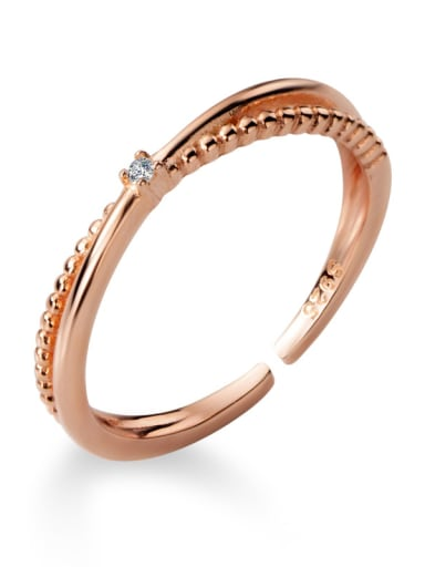925 Sterling Silver With Glossy Simplistic Double layer  Free Size  Rings