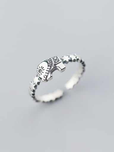 925 Sterling Silver With Antique Silver Plated Vintage Elephant Free Size Rings