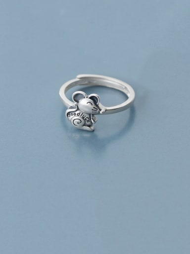 925 Sterling Silver With Antique Silver Plated Cute Mouse Free Size Rings