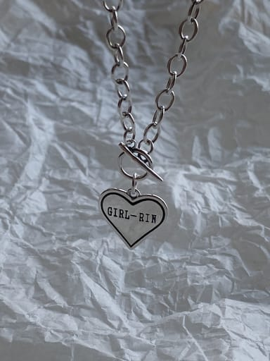 925 Sterling Silver With Antique Silver Plated Simplistic Heart-shaped Monogrammed Locket Necklace