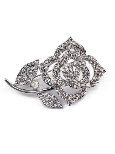 Platinum Plated Flower Brooch