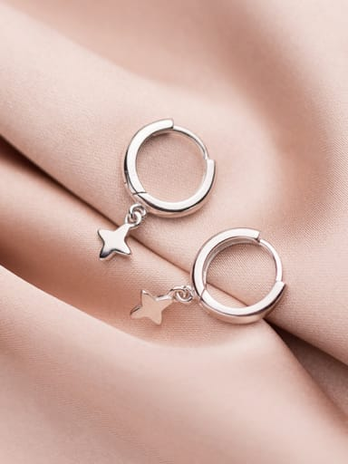 925 Sterling Silver With Rose Gold Plated Simplistic Star Clip On Earrings