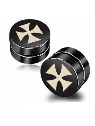 Stainless Steel With Black Gun Plated Personality Cross Stud Earrings