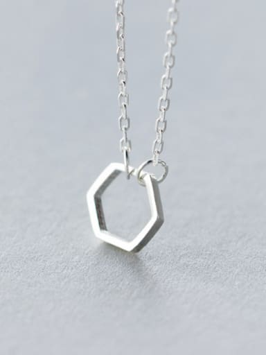S925 Silver Minimalist Hexagon Short  Necklace