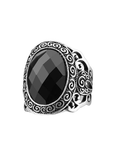 Retro style Hollow Resin Stone Alloy Ring