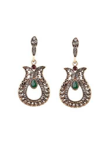 Antique Gold Plated Ethnic style Resin stones Rhinestones Drop Earrings