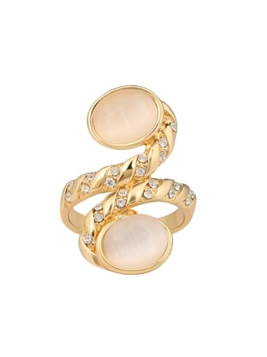 Personalized Opal stones White Rhinestones Alloy Ring