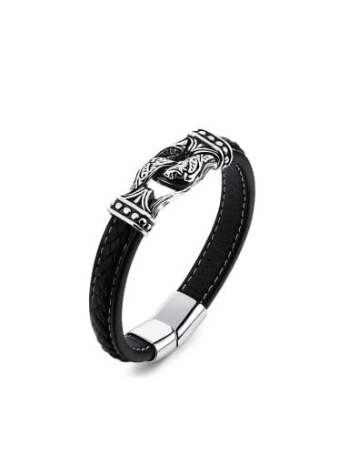 Punk style Artificial Leather Titanium Men Bracelet