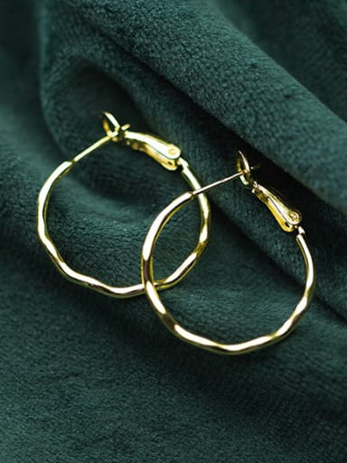 925 Sterling Silver With Gold Plated Simplistic Wavy pattern circle Hoop Earrings