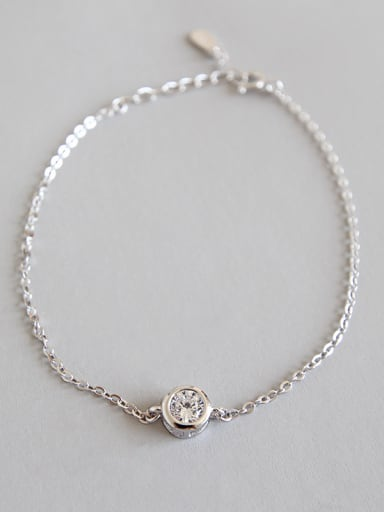 925 Sterling Silver With Platinum Plated Classic Cubic Zirconia Bracelets